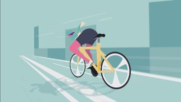 Animation of a cyclist moving fast