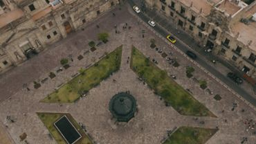 Downtown plaza, aerial view