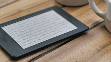 Ebook reader on a table