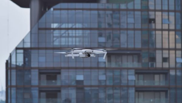 Drone in the sky at a city