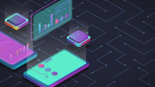 Motion graphic animation of futuristic devices