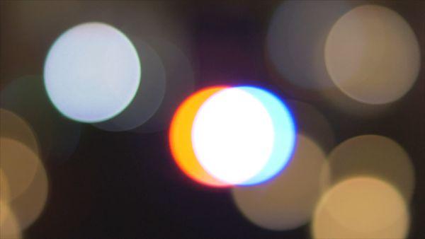 Blurred round white lights bokeh effect