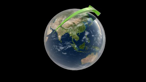 Earth with Orbiting Arrows