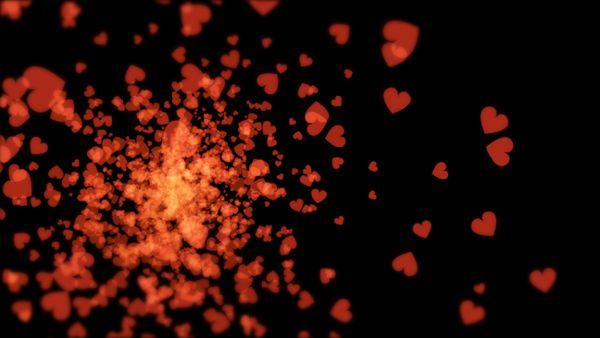 Eruption roter Herzen