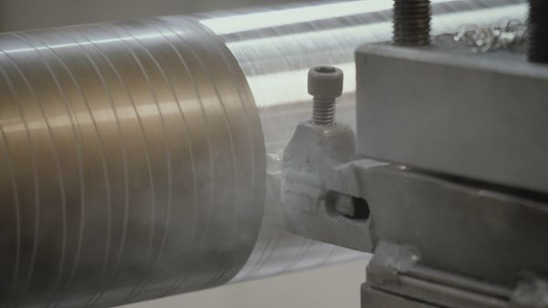 Industrial cutter scraping iron