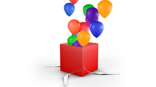 Gift Box Opens and balloons fly