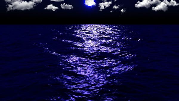 Dark Sea Moonlight Clouds