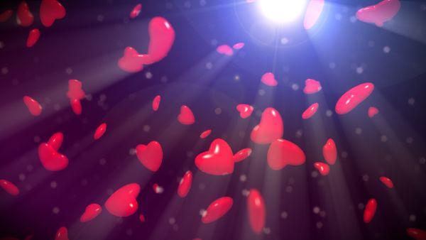 Aufsteigende rote Herzen